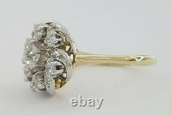 0.8 ct Antique Victorian 14k & Platinum Old Mine Cut Flower Engagement Ring