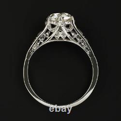 1.25ct OLD MINE CUT DIAMOND PLATINUM ENGAGEMENT RING VINTAGE ANTIQUE EAST WEST