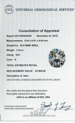 1.33ct CERTIFIED K VS1 OLD MINE CUT DIAMOND ANTIQUE VINTAGE 1800 CUSHION ESTATE