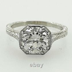 1.40 ct Vintage Antique Old European Cut Diamond Engagement Ring In Platinum