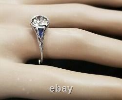 1.45ct Vintage filigree art deco ring old euro cut Diamond 18k white gold