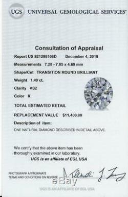 1.5 Carat Certified K Vs2 Old European Cut Diamond Vintage Antique Loose Natural