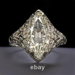 1.75ct GIA CERTIFIED OLD MARQUISE CUT DIAMOND ENGAGEMENT RING VINTAGE ANTIQUE ER