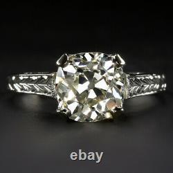 1.85ct VS OLD MINE CUT DIAMOND ENGAGEMENT RING 18k VINTAGE ANTIQUE SOLITAIRE 2ct