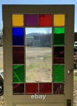 1 Antique Exterior Stained Glass 36x83 Entryway Door Vintage Brown Old 452 -21B