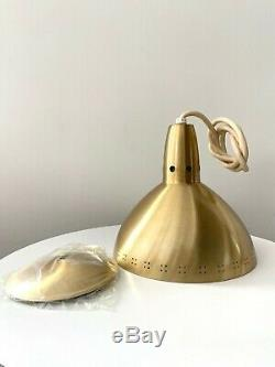 1 New Old Stock Vintage Mid Century Modern Brass Hanging Pendant Cone Lamp Light