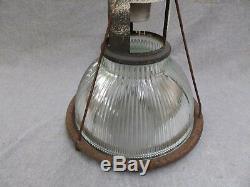 1 Vintage Industrial 12 Holophane Pendant Light Old Factory Steampunk 573-16