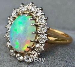 14K Yellow Gold Opal Ring Old European Diamond Halo Antique Cocktail Oval