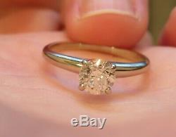 14k Antique Vintage Art Deco Vs Old European Cut Natural Diamond Engagement Ring