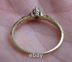 14k Antique Vintage Vs Old Mine Cut Natural Diamond Engagement Ring Art Deco Wow