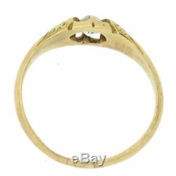 1870s Antique Victorian 18k Yellow Gold. 15ct Old Mine Belcher Set Diamond Ring