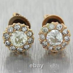 1880 Antique Victorian 14k Yellow Gold 0.60ctw Old Mine Cut Diamond Stud Earring
