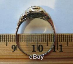 18k Antique Vintage Art Deco Floral Filigree Old Cut Diamonds Engagement Ring