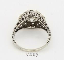18k white gold Vintage ANTIQUE art deco ring ROUND OLD mine 3.45ct Diamond