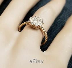 18k yellow gold Vintage Diamond ring OLD MINE CUT 0.76ct SI2 circ 1930's