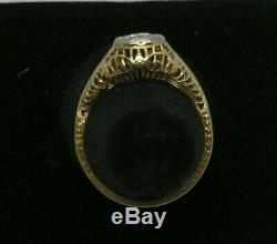 1910ish Antique 14K Gold Filigree Old European Cut Diamond Ring. 33ct