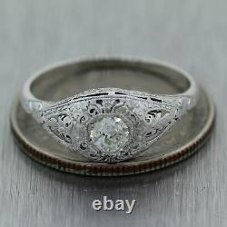 1930's Antique Art Deco Platinum 0.33ctw Old Mine Cut Diamond Filigree Ring