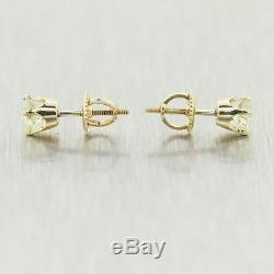 1930s Antique Art Deco 14k Yellow Gold Old Mine Cut 0.83ctw Diamond Stud Earring