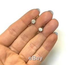 1CTW Old Mine Cut Diamond 14K Rose Gold VS2 SI1 Antique Dangling Drop Earrings