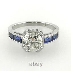 2.02 ct Vintage Antique Old European Cut Diamond Engagement Ring In Platinum