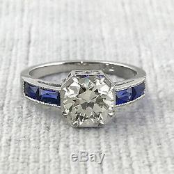 2.15 ct Vintage Antique Old European Cut Diamond Engagement Ring In Platinum