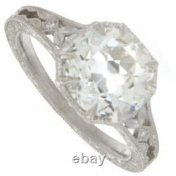 2.20ct Old European Cut Certified Diamond Antique Style Engagement Ring