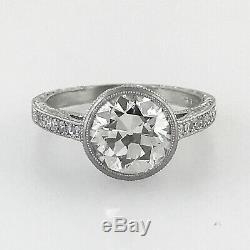 2.85 ct Vintage Antique Old European Cut Diamond Engagement Ring In Platinum