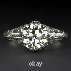 2 Carat Vs1 Old European Cut Diamond Engagement Ring Platinum Vintage Antique Er