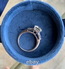 2 ct old european oec diamond 3 stone platinum antique vintage ring w baguettes