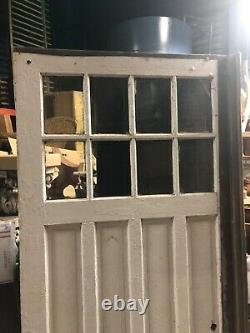 2 vintage c1900 carriage house barn style doors w track 84/48 old glass 9/13
