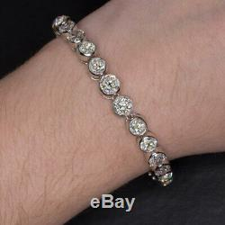 25 Carat Vs-si Old Mine Cut Diamond Vintage Platinum Tennis Bracelet Antique Big