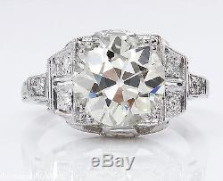 3.07ct Antique Vintage Deco Old Euro Diamond Engagement Wedding Ring Plat Egl