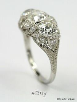 3.51 Ct Antique Vintage Art Deco Old European Diamond Engagement Ring Plat Gia