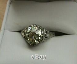 3.52 Old European Diamond Solitaire & Platinum Antique Edwardian Engagement Ring