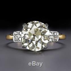 3 CARAT 9mm OLD MINE CUT DIAMOND ENGAGEMENT RING VINTAGE ANTIQUE EUROPEAN 3ct