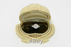 3 Carat Old European Cut Diamond Solitaire Antique Edwardian Engagement Ring 14k