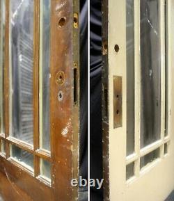 36x83x1.75 Antique Vintage Old Wood Wooden Exterior Entry Door 9 Window Glass