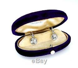 4.28ct Antique Vintage Diamond Art Deco Old Euro Hanging Drop Earrings Platinum
