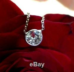 47CT Antique Old Mine Cut Diamond Solitaire Floating 14K White Gold Necklace