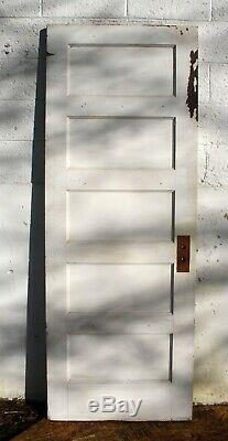 5 avail 28x77 Antique Vintage Old SOLID Wood Wooden Interior Door 5 Flat Panels