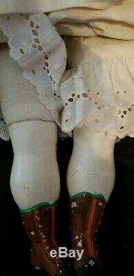 ANTIQUE LARGE CHILD GIRL WAX HEAD DOLL GLASS SLEEP EYES OLD BODY 29 T fab shoes