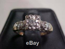 ANTIQUEDECO1920'S OLD MINE OR EUROPEAN CUT DIAMOND 2-RING SET 14K YG WG sz5