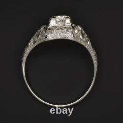 ART DECO DIAMOND ENGAGEMENT RING PLATINUM OLD EUROPEAN CUT VINTAGE ANTIQUE 1920s