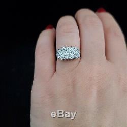 Antique 1.6ct Old European Diamond Cluster Ring Platinum 14k Gold Edwardian Gift
