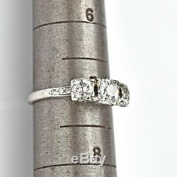 Antique 14K White Gold 1.60 TCW Old Euro Diamond Band Ring 3.0 Grams