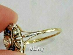 Antique 14K White & Yellow Gold with Old Mine Cut Diamonds & Sapphires Ring Size 8