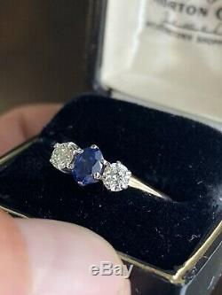Antique 14k Victorian. 85ct sapphire and. 50ct Old Euro diamond three stone ring