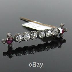 Antique 1800s 2.00ct Old Mine Cut Diamond & 0.50ct Ruby Silver & Gold Bar Pin