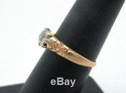Antique 1890 Victorian Old Mine Cut Diamond Carved Engagement Ring 14k Sz 6.5