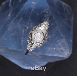 Antique 18k White Gold Ornate Old European Cut Diamond Ring